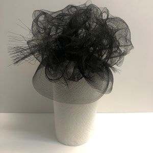 CHANEL MESH BIG HAT used condition Black Flower
